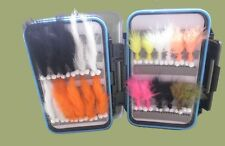 24 Booby Marabou / Zonker Trout Flies in a Clear Lid lid fly box,Great Selection