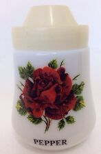 Vintage Cruet 1960s Italy Milk Glass Kitsch Rose Salt Pepper Pot Shaker Cellar