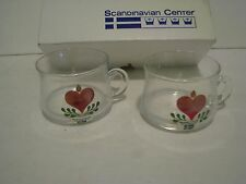 Vintage Scandinavian Center  GLASS CUPS  LOT 2    HEART DESIGN   2 IN Sweden