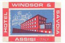 1930s Luggage Label Hotel Windsor & Savoia Assisi Italy