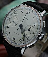 C. 1940's MULCO Pilot Chronograph Valjoux 22 ALL STAINLESS STEEL Watch SERVICED