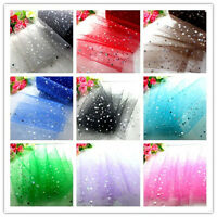 "5/25/100yd x 6"" Bridal Wedding Decoration sequin tulle fabric Spool tutu Craft"