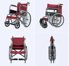 46cm Red Manual Wheelchair folding lightweight Self Propelled Aluminum BIG SALE