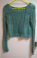 Free People Sweater knit Soft Green net boho hippy XS fall spring summer open