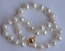 10-11mm Natural White Baroque Cultured Freshwater Pearl Necklace 14k