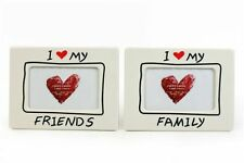 "I Love My Family White Red Love Heart 4"" x 6"" Photo Picture Frame Decorative"
