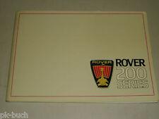 Betriebsanleitung Handbuch Rover 200 Serie 213 S SE Vanden Plas Typ XH, 1984