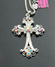 689#S    Betsey Johnson Silvery Bling Crystal AB Cross Pendant Necklaces