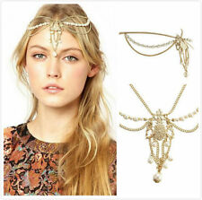 Hippie Retro Pearl Tassel headband head piece chain elastic hair band Clip (35)