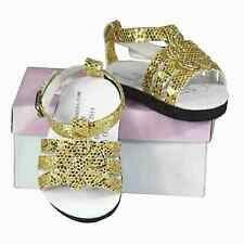 18 Inch Doll Gold Strappy Sandal Shoes  Fits American Girl Clothes & Accessories