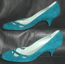 Sigerson Morrison New York Teal Suede Closed Toe Pumps Heels Shoes Size 8 1/2