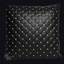 Nemesis Now Rhinestone Cushion 45cm x 45cm. Faux Black Leather w/Rhinestones.