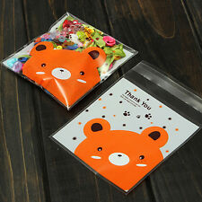 Bear pattern Pastry Cookie DIY Gifts Self-Adhesive Plastic Cello OPP Bag 100X CA