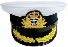 BRAND NEW ROYAL NAVY OFFICER HAT CAP CAPTAIN ( WHITE ) Size 59