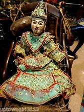 RARE ANTIQUE Thai Burmese PUPPET TEAK MARIONETTE hand carved painted MAGNIFICENT