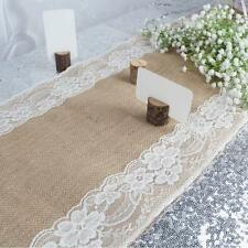 10pc Hessian Jute Burlap Lace Table Runner For Wedding Party Venue Decor US SHIP