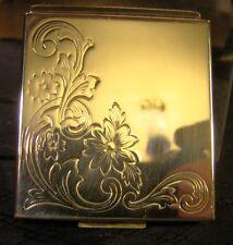 Vintage Zell Fifth Avenue Square Gold Floral Art Nouveau Compact Powder Case