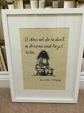 Vintage HARRY POTTER Art picture print QUOTE dwell On Dreams Live UNFRAMED