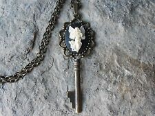 GUARDIAN ANGEL CAMEO SKELETON KEY NECKLACE - RELIGIOUS - EASTER - CHRISTMAS,GIFT