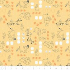 """Camelot Winnie The Pooh Chamomile Characters 100% cotton 44"""" fabric by the yard"""