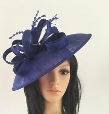 LADIES NEW ROYAL BLUE ASCOT WEDDING HAT DISC FASCINATOR MOTHER OF THE BRIDE