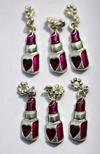 Charm Lot of 6 Pieces! Silver & Purple Lipstick Tube Heart Beauty Cosmetic Love