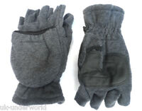 MENS LADIES GREY THERMAL INSULATION FINGERLESS CAPPED WARM HALF GLOVES MITTENS