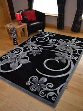 Big Large Size Modern Black And Silver Grey Floral Flower Design Floor Area Rugs