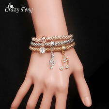 Women Gold Plated Crystal Multilayer Pendant Charm Beaded Bracelets Bangle Chain