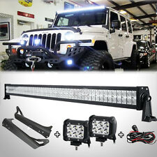 "52""Inch 500W+4"" 18W LED Light Bar+Mount Bracket Fit For Jeep Wrangler YJ 1987~95"