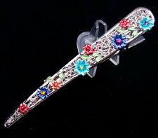 Tibetan Tribal Style Lady's Hair Clip Gorgeous Beads & Flower Blossoms #08011603