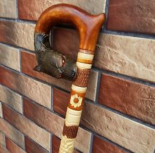Wolf Cane Walking Stick Wooden Handmade Wood Carving Exclusive Folk Art