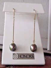 Honora 8 mm Black/peacock  Freshwater Pearl EARRINGS 14k Yellow Gold