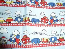 "Boys ""CHOO-CHOO TRAIN"" FQ 100% cotton Fabric blue 47 cm x 54 cm (x2 available)"