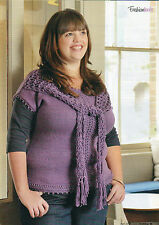 ~ Knitting Pattern For Lady's Pretty Plus Size Shawl Front Top ~