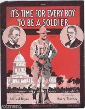 It's Time For Every Boy To Be A Soldier, WW I Sheet Music 1918, Lincoln & Wilson