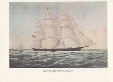 "1974 Vintage Currier & Ives CLIPPER SHIP ""FLYING CLOUD"" COLOR Lithograph"