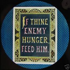 Glass Magic Lantern Slide IF THINE ENEMY HUNGER FEED HIM C1890 SCRIPTURE TEXT
