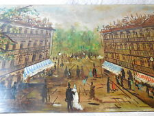 ~c 1940 French Paris Scene Hand Painted Impressionist Coffee Table One~of~a~Kind