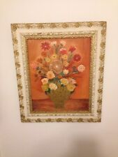 Mid Century Modern Beautiful Framed Floral Painting Signed R.D. Willard