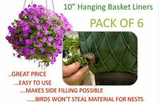 10 inch Hanging Basket Liners (6 Pack) - Easy to use Liner - Just Cut to Size