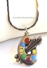 Silver Plated Artists Palette Necklace Artist Pallet Art Teacher Gift Enamel USA