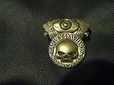 NEW HARLEY-DAVIDSON WILLIE G SKULL BRASS FINISH MOTOR BIKER JACKET PIN