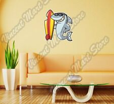 "Shark Surf Surfboard Surfing Cartoon Wall Sticker Room Interior Decor 20""X25"""