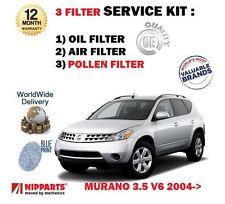 FOR NISSAN MURANO 3.5 V6 Z50 2004-2008  NEW OIL AIR POLLEN 3 FILTER KIT