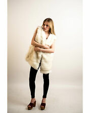 Lady faux fur brown grey cream white fluffy fur long oversize gilet sleeveless