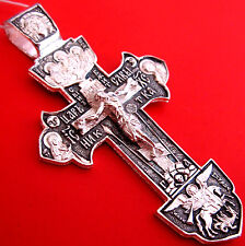 Russian Orthodox Icon Cross Christ Silver 925 #1.61-2