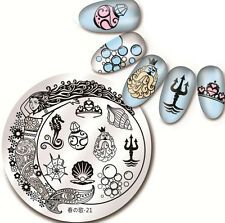 1Pc Nail Art Round Stamp Image Plate Template Mermaid Conch Design Harunouta-21