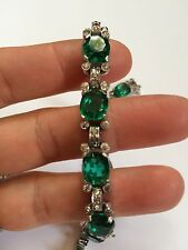 Jomaz Vintage Antique Green Emerald Color Rynestone Sterling Silver 925 Bracelet