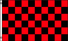 2x3 Checkered Checker Black Red Race Flag 2'x3' House Banner Brass Grommets